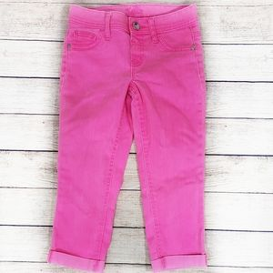 Justice Girls Hot Pink Cropped Jeans